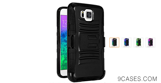 07-CASEFORMERS Duo Armor BLACK for Samsung Galaxy Alpha Combo Case with Stand and Holster