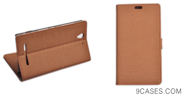 07-Einzige Slim Fit Leather Case Cover with Stand & Card Slots for Sony Xperia C3