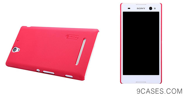 08-Frosted Shield Matte Back Cover Case + LCD Protector For Sony Xperia C3 S55T, Red