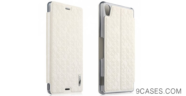 08-Sony Xperia Z3 Case, Fashion Brocade Flower Case Folio Stand Leather Cover Protective for Sony Xperia Z3 (White)