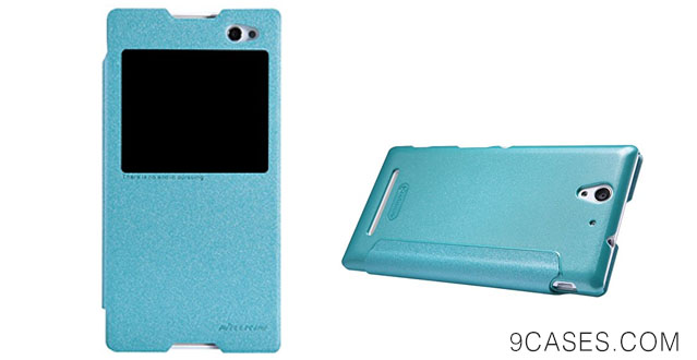 10-NILLKIN Sparkle Window PU Leather Flip Cover Case for SONY Xperia C3 S55T, Blue