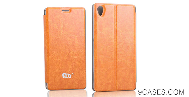 11-PDNcase Sony Z3 Case Premium Leather Wallet Cover Compatible for Sony Xperia Z3 (Orange)