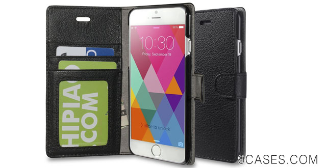 19-iPhone 6 case - INVELLOP iPhone 6 case cover slim Leather Wallet case (Black)