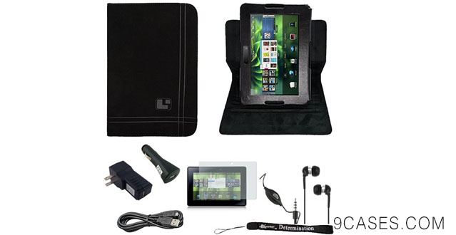 11-Black Nubuck Protective Flip Kickstand Case For Blackberry Playbook Tab