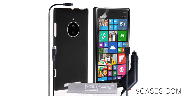 12-Yousave Accessories Nokia Lumia 830 Case Black Hard Hybrid Cover With Micro USB Cable And Car Charger