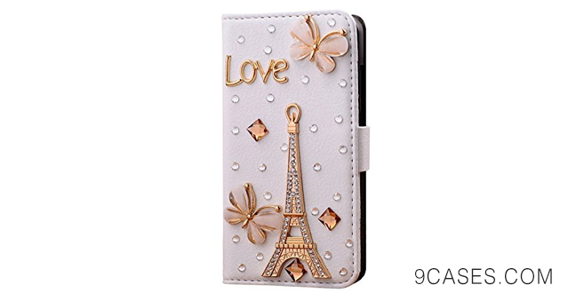 07-Wellpad Classic design bling leather wallet Credit card stand Case For Htc desire 510 phone(Golden tower and Love)