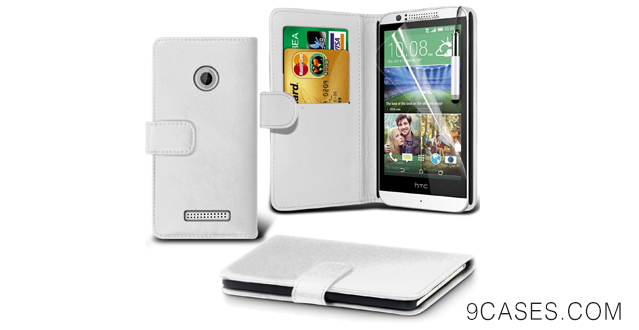 09-( White ) HTC Desire 510 BookStyle PU Leather Wallet Flip With 2 Credit