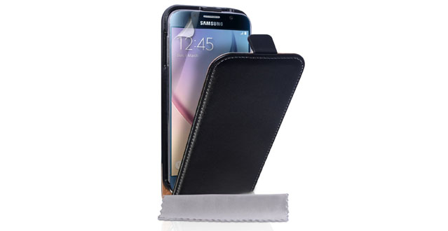 12-Yousave Accessories Samsung Galaxy S6 Case Black Genuine Leather Flip Cover