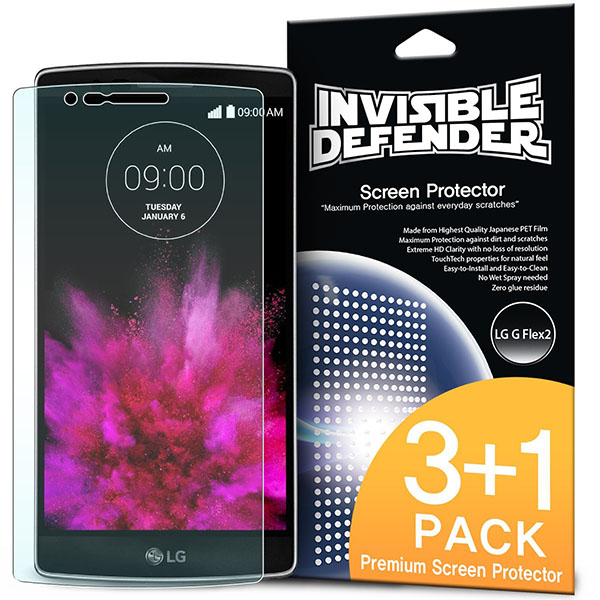 01-Invisible Defender [3+1 Free_MAX HD CLARITY] Lifetime Warranty Perfect Touch Precision High Definition (HD) Clarity Film (4-Pack) for LG G FLEX 2