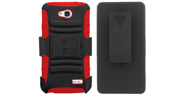 03-3. LG Optimus L70 (MS323) Black And Red Hardcore Hybrid Kickstand Case + Holster Combo