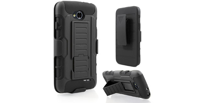04-4. LG Optimus L70 VS450 (Metro PCS) _ LG Realm LS620 (Boost Mobile) _ LG Optimus Exceed 2 W7 (Verizon), Starshop(TM) Hybrid Full Protection High Impact Dual Layer Holster Case with Kickstand and Locking Belt Swivel Clip Black