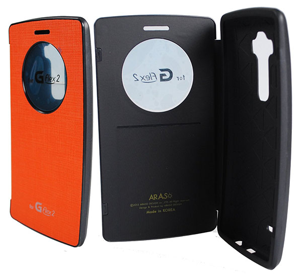 04-[Orange] [Quick Circle Window View] Case PU Leather Curved Flip Cover [Anti Shock] [Magnetic closure] For LG G flex 2