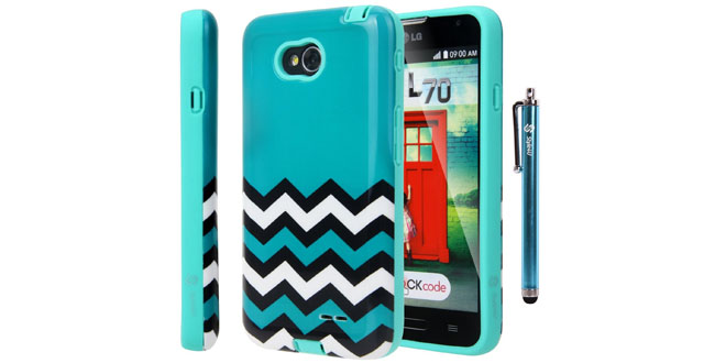 05-Style4U Chevron Design Slim Fit Hybrid Armor Case for LG Optimus L70 with 1 Stylus and 1 HD Clear Screen Protector [Chevron Turquoise]