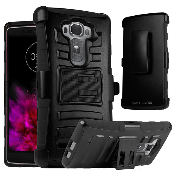06-CASEFORMERS Duo Armor BLACK for LG G Flex 2 Combo Case with Stand and Holster