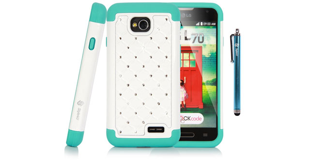 06-Style4U Studded Rhinestone Crystal Bling Hybrid Armor Case Cover for LG Optimus L70 with 1 HD Screen Protector and 1 Stylus [White _ Teal]