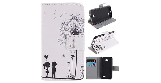 07-Gift_Source [Slim Fit] Folio Leather Stand [Wallet] Shell Cover with Card Holder Compatible with LG Optimus L70 [Dandelions Fall in Love with Me Pattern] ,Sent Screen Protector + Stylus Pen