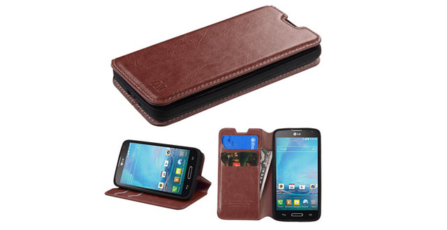 07-MyBat MyJacket Wallet Case with Tray for LG Optimus L90 - Retail Packaging - Brown