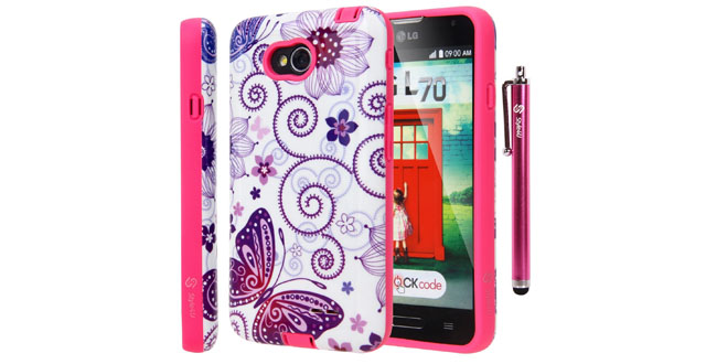 08-Style4U Butterfly Design Slim Fit Hybrid Armor Case for LG Optimus L70 with 1 Stylus and 1 HD Clear Screen Protector [Butterfly Hot Pink]