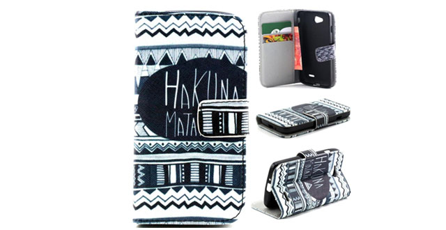 09-Optimus L90 Flip Case,Gift_Source [Stand Feature] Case Wallet [Wallet S] Premium Wallet Case Flip Cover for LG Optimus L90 - Hakuna Matata with Ethnic Aztec Tribal Pattern +1 X Screen Protector and Stylus Pen