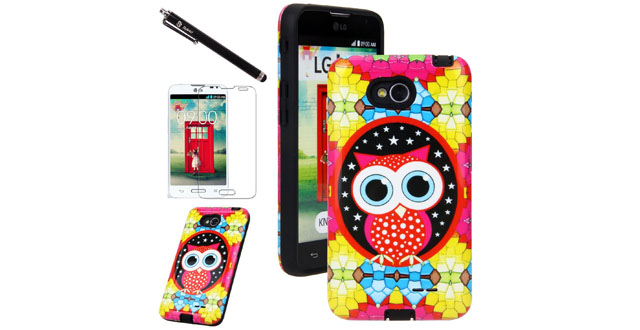 09-Style4U Cute Owl Design Slim Fit Hybrid Armor Case for LG Optimus L70 with 1 Stylus and 1 HD Clear Screen Protector [Owl Black]