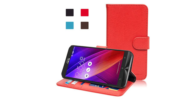 09.Bluezoon Asus Zenfone 2 Case - Pu Leather Flip Bank Card Wallet Case Cover for Asus Zenfone 2 (5.5'' Display, 2015 Version) (Red)
