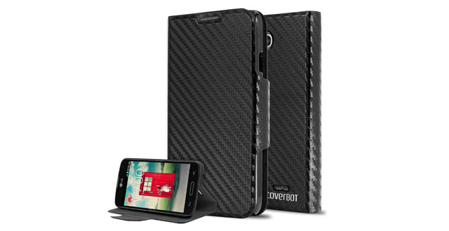 11-CoverBot LG Optimus L90 Flip Wallet Case with Stand BLACK CARBON FIBER. Slim Style with Folio Flip Cover