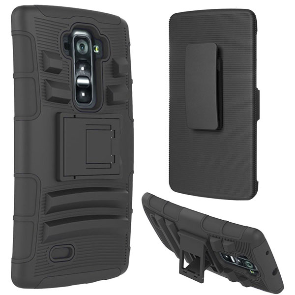 12-Cimo [Armor Guard] Heavy Duty Shock Absorbing Dual Layer Protection Cover with Kickstand and Locking Belt Swivel Clip for LG G Flex2 (2015) - Black