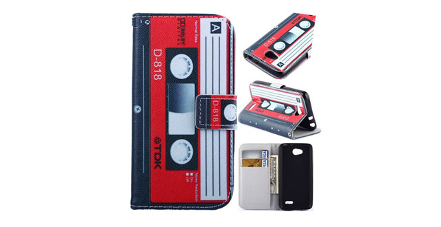 """12-Optimus L90 Case -Brand Cassette Tape Pattern Deluxe PU Leather Flip Case Flip Wallet Stand case with Card Slots for LG Optimus L90 (T-Mobile) _ D415 (Package includes- 1 X Screen Protector and Stylus Pen image""""Gift_Source"""")"""