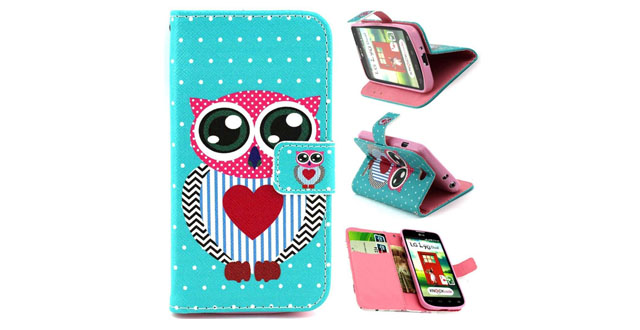 13-Gift_Source Brand Leather Flip Case Flip Wallet Stand case with Card Slots for LG Optimus L90 (T-Mobile) _ D415 - Painting Cute Owl Art Design , Sent Screen Protector + Stylus Pen