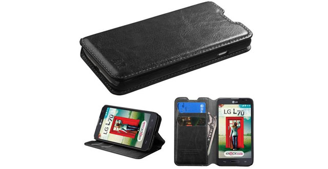 13-MYBAT MyJacket Wallet with Tray for LG MS323 Optimus L70 - Retail Packaging - Black