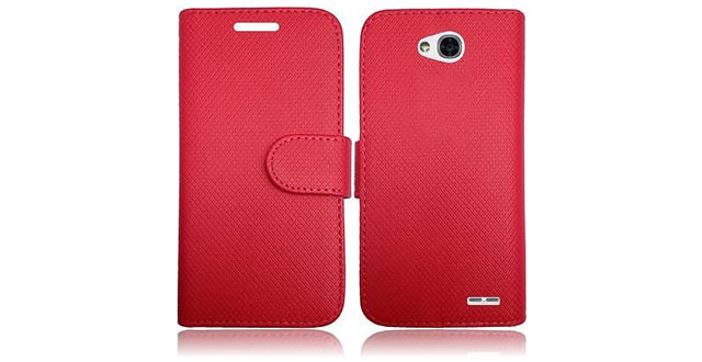 14-LG OPTIMUS L70 L41C Exceed 2 Realm Pulse Ultimate 2 Case, Magnetic Closure Leather Flip Wallet Case with 2 Card Slots, Cash Compartment and Detachable Wrist Strap for LG Optimus L70 Wallet Case (RED WALLET POUCH)