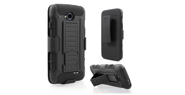 14-Starshop LG Optimus L90 [T-Mobile] Hybrid Full Protection High Impact Dual Layer Holster Case with Kickstand and Locking Belt Swivel Clip Black