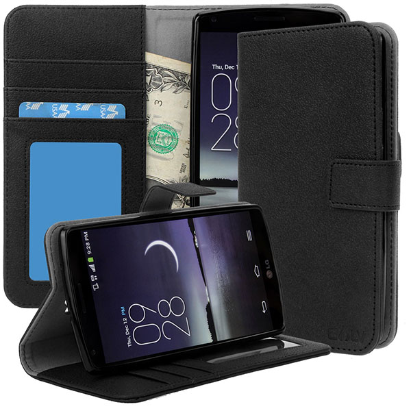 15-E LV LG G Flex 2 Case Cover - Deluxe PU Leather Flip Wallet Case Cover for LG G Flex 2 – BLACK