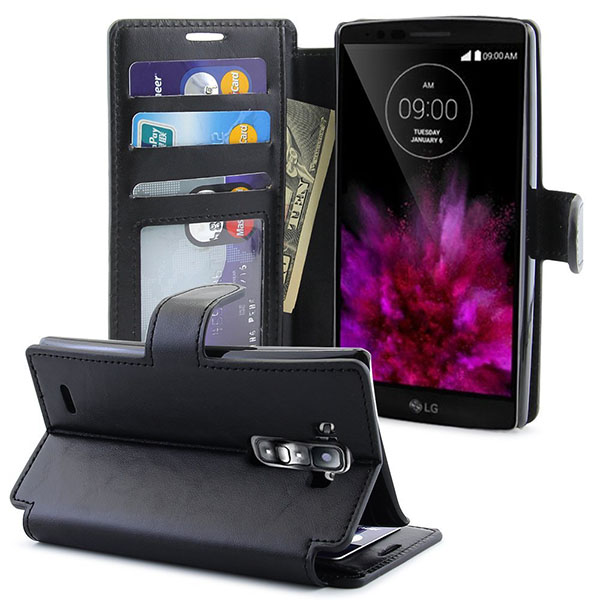 16-LK [Stand Feature] LG G Flex 2 Premium Wallet Case [Wallet Function] Flip Cover Leather Case for LG G Flex 2 with Stylus Pen - [Premium Series] Black