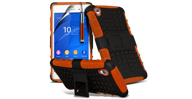 06. Fone-Case ( Orange ) Sony Xperia Z4 Case Brand New Luxury Tough Survivor Hard Rugged Shock Proof Heavy Duty Case WBack Stand, LCD Screen Protector Guard