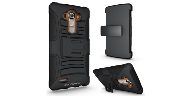 09. LG G4 Case, BUDDIBOX [Heavy Duty] Premium Dual Layer ArmoCase Series for LG G4 [Kickstand Function] and Rotating Belt Clip [HOLSTER], Black on Black