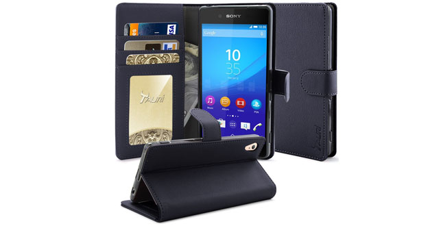 11. Xperia Z4 Case, Tauri [Stand Feature] Sony Xperia Z4 Wallet Case [Anti Scratch] Premium Leather Case with Stand, ID & Credit Card Pockets Flip Cover
