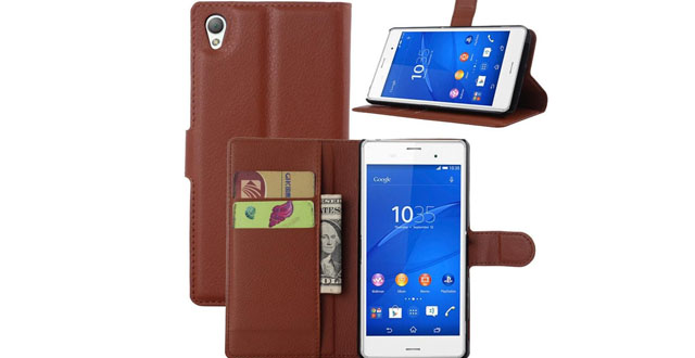 12. Sony Xperia Z4 Case - Leevin(TM) Flip Wallet Pu Leather Case Hard Cover with Stand Card Holder for Sony Xperia Z4 Smart phone, 2015 Version (Brown)