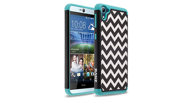 04. RANZ® Wave Pattern Print Desgin Impact Dual Layer Shockproof Bumper Hard Case Cover For HTC Desire 826 (TEAL)