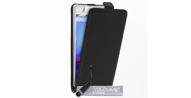 07.-Caseflex-Sony-Xperia-C4-Case-Black-Genuine-Leather-Flip-Cover-With-Mini-Stylus-Pen