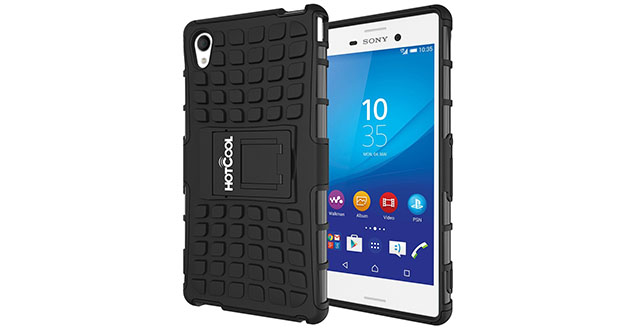 08. HOTCOOL Heavy Duty Rugged Dual Layer Armor with Kickstand Cover Case For Sony Xperia M4 Aqua