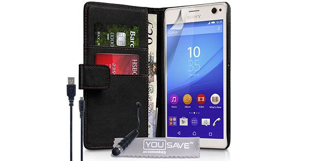 10.-Yousave-Accessories-Sony-Xperia-C4-Case-Black-PU-Leather-Wallet-Cover-With-Mini-Stylus-Pen-And-Micro-USB-Cable