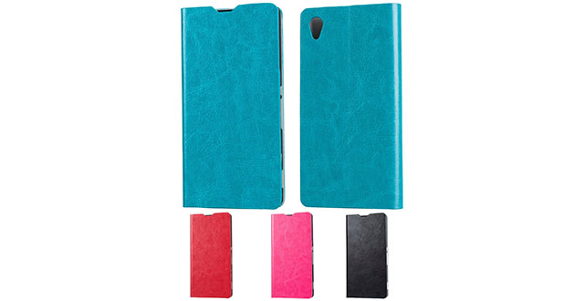 12. SLEO Luxury Slim Cow Split Leather Flip Protective Cover Case for Sony Xperia M4 Aqua with Card Slot and Stand Feature