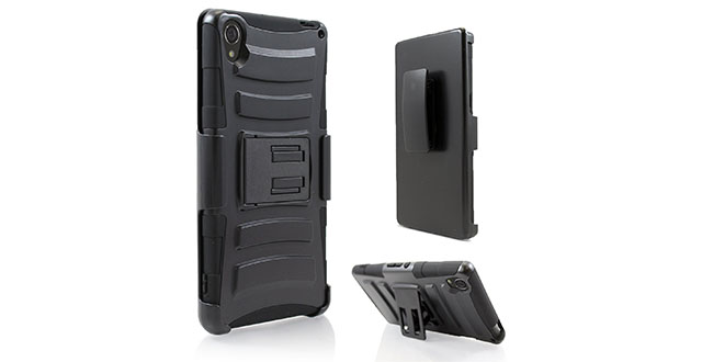 06. Starshop Sony Xperia Z3V Dual Layer Holster Case with Kickstand and Locking Belt Swivel Clip Black
