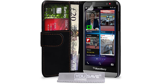 10. Yousave Blackberry Z30 Case Black PU Leather Wallet Cover