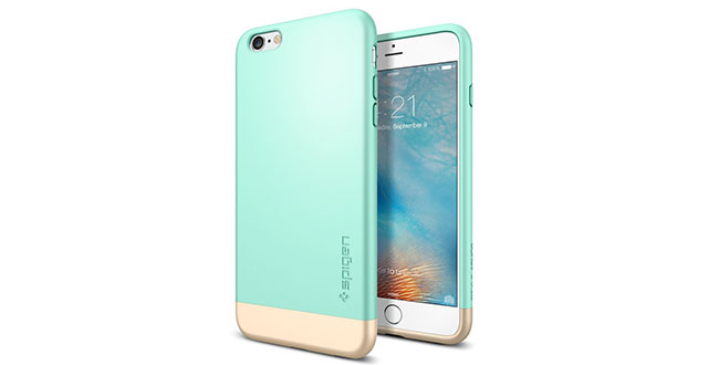 07.-Spigen-[Style-Armor]-Safe-Slide-[Mint]-SOFT-Interior-Scratch-Protection-with-Dual-Layer-Trendy-Hard-Case-for-iPhone-6s-Plus