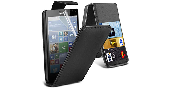 10.-Fone-Case-Black-Microsoft-Lumia-950-XL-Case-Executive-Flip-Over-Style-Cover-Made-From-PU-Leather